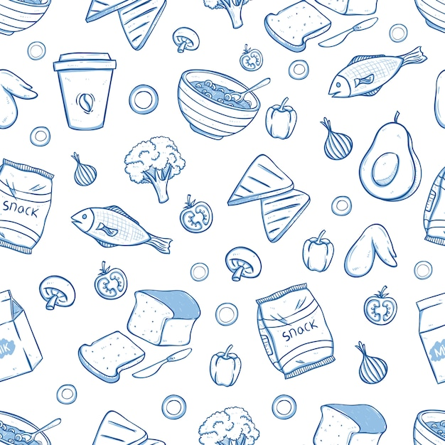 Tasty breakfast food in seamless pattern with doodle style Premium Vector