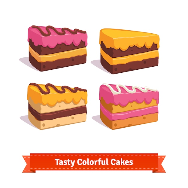 Tasty cake slices with frosting and cream Free Vector