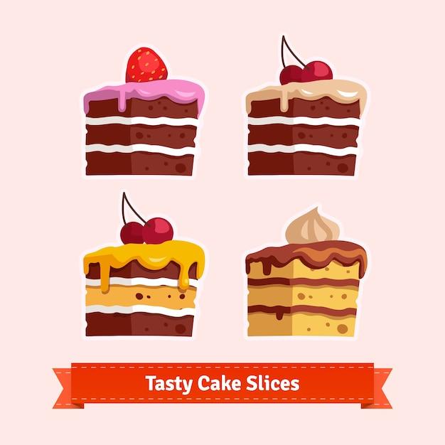 Tasty cake slices Free Vector