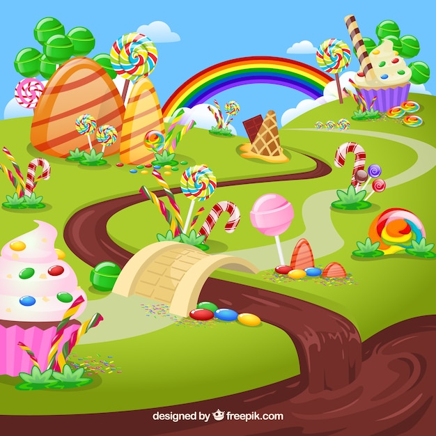 Tasty candy land background in flat style Free Vector