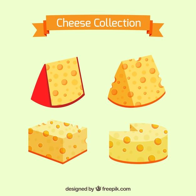 Tasty cheeses to taste Premium Vector