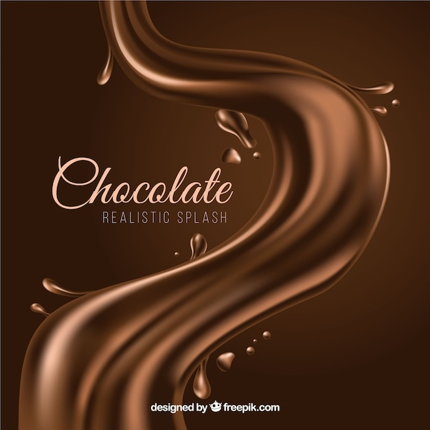 Tasty chocolate liquid splash in realistic style Free Vector
