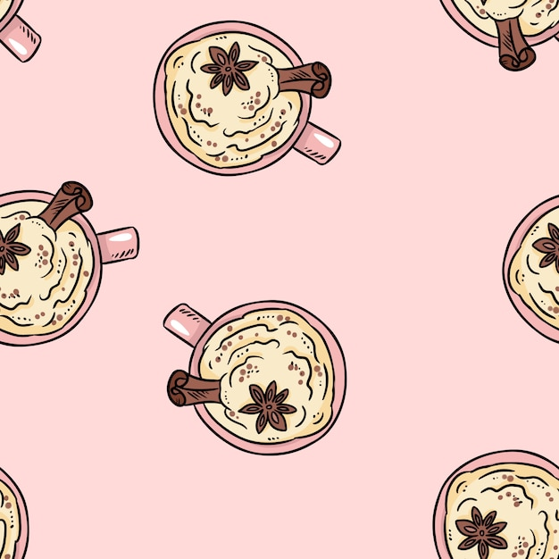 Tasty coffee drink with cinnamon and whipped cream cute cartoon seamless pattern. Premium Vector
