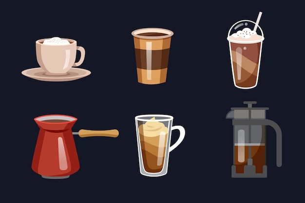 Tasty coffee in mugs and kettle Free Vector