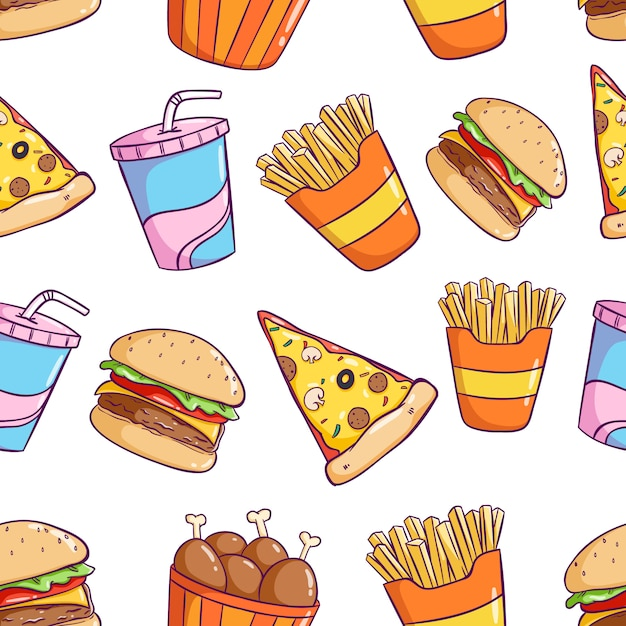 Tasty cute junk food in seamless pattern with colorful doodle style Premium Vector