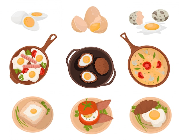 Tasty dishes made from eggs set, raw, boiled and fried eggs with various ingredients  illustration on a white backgroun Premium Vector
