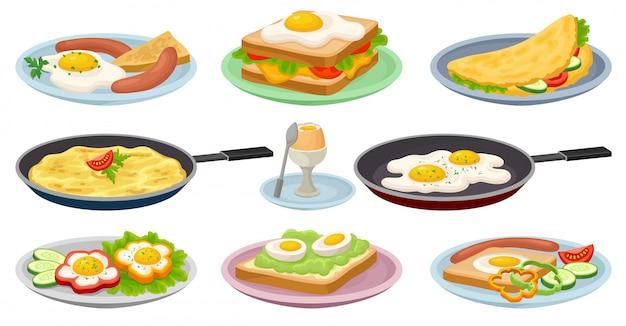 卵セット、新鮮な栄養価の高い朝食用食品、メニューの要素、カフェ、白い背景の上のレストランのイラストがおいしい料理 Premiumベクター