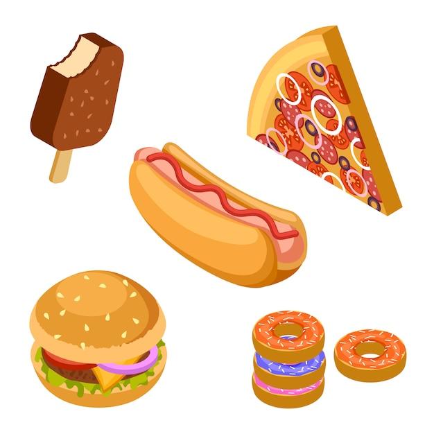 맛있는 패스트 푸드입니다. 아이소 메트릭 햄버거, 아이스크림, 피자, 도넛 및 핫도그 벡터 아이콘 프리미엄 벡터