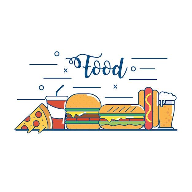 おいしいファストフードの栄養と不健全な食べ物 Premiumベクター