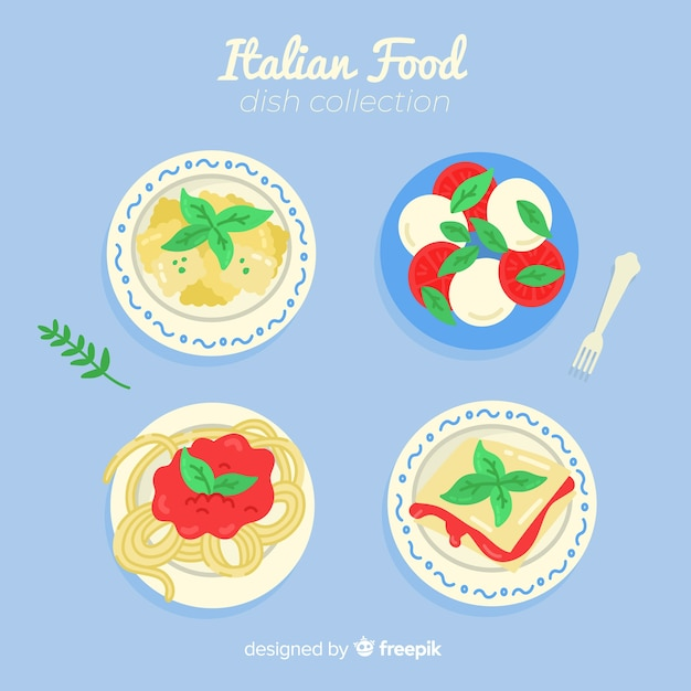 Tasty food dish collection Free Vector