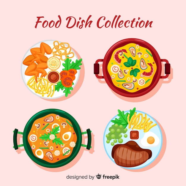 Tasty food dishes pack Free Vector