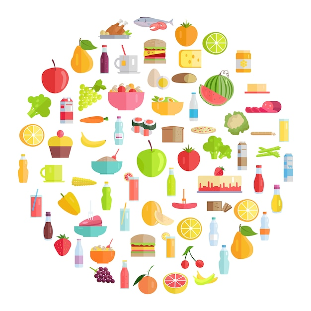 Tasty food, grocery products and refreshing drinks Premium Vector
