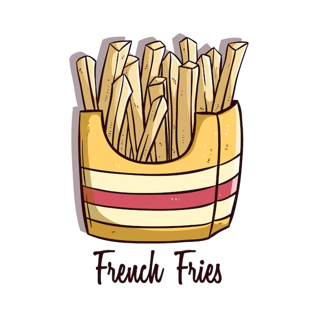 Tasty french fries with colored doodle or hand drawn style Premium Vector
