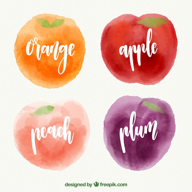 Tasty fruits in watercolor style Free Vector