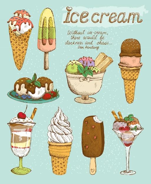 Gustoso set gelato Vettore gratuito