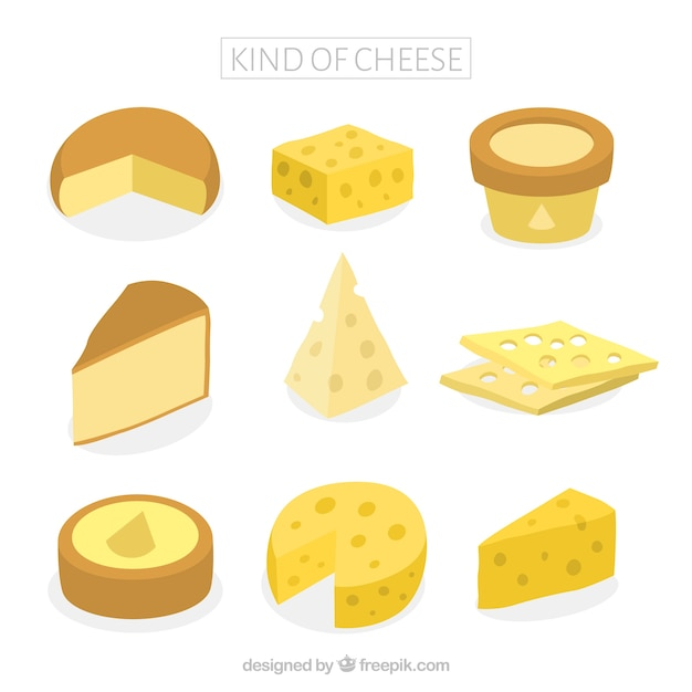 Tasty kinds of cheeses Free Vector