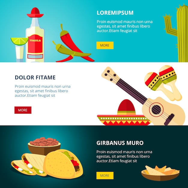 Tasty mexican traditional cuisine food restaurant pattern Premium Vector