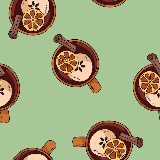 Tasty mulled wine drink in a cup with cinnamon and citrus cute cartoon pattern Premium Vector