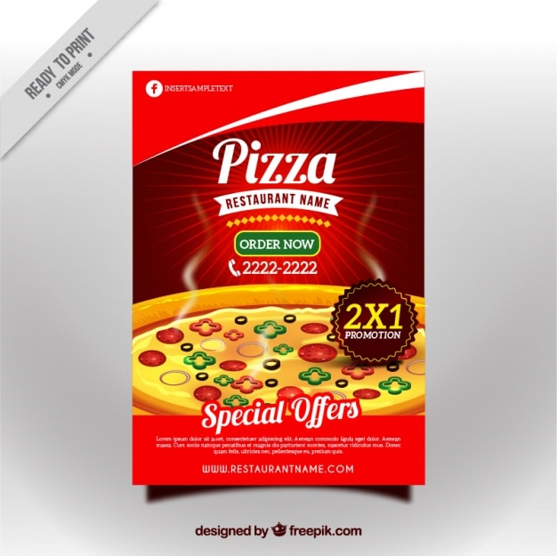Tasty pizza discount brochure Free Vector