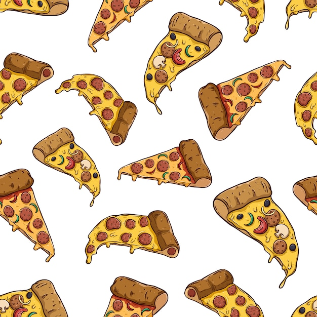 Tasty pizza slice in seamless pattern with colored hand drawn style Premium Vector