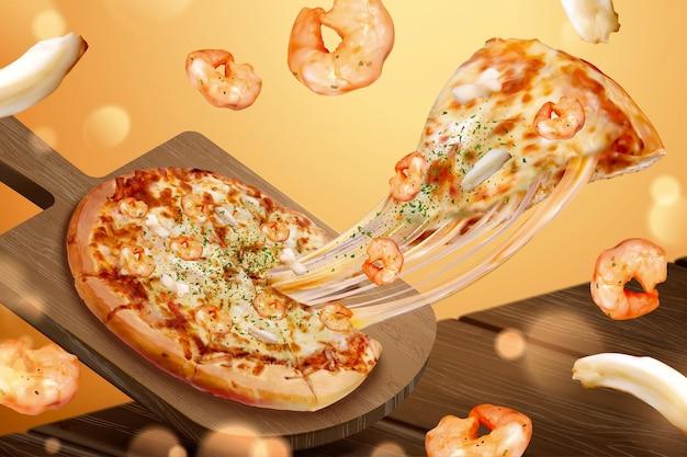 Рекламы вкусной пиццы с морепродуктами и тягучим сыром на 3d-иллюстрации, креветками и кольцами кальмаров Premium векторы