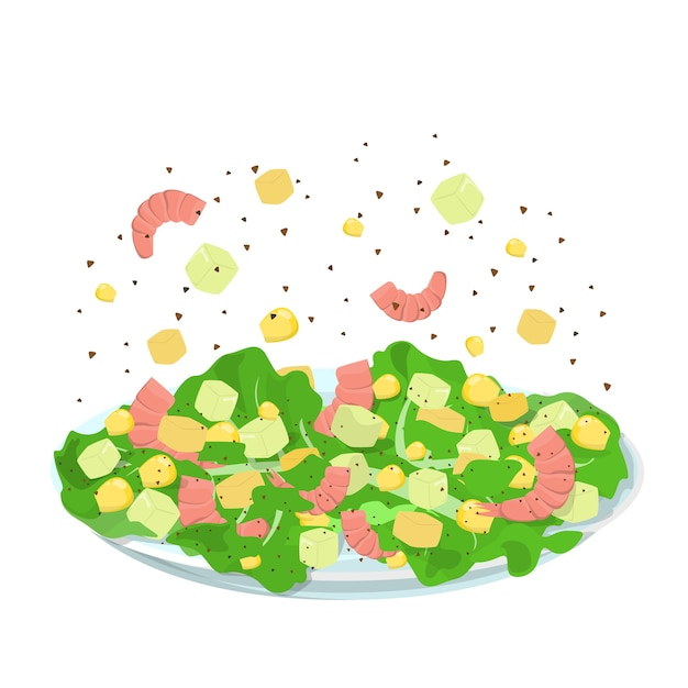Tasty seafood salad. cooking at home concept Premium Vector