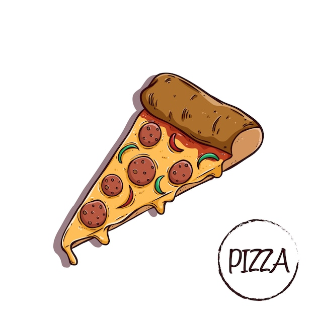 Tasty slice pizza with cheese using colored Premium Vector