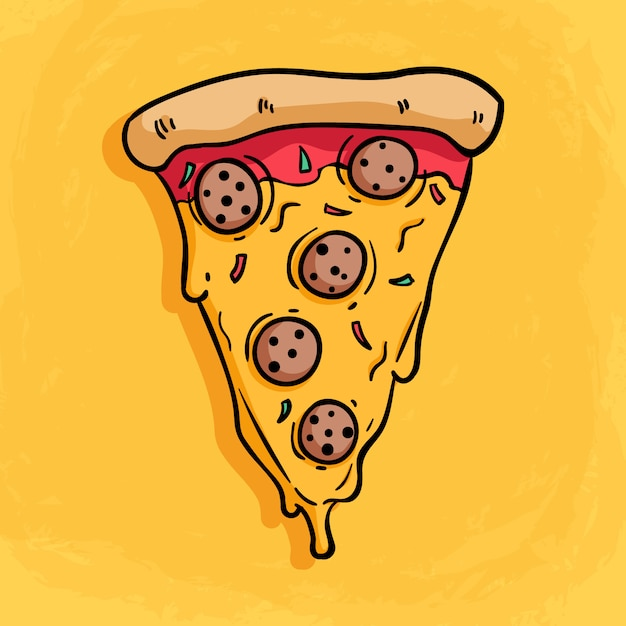 Tasty slice pizza with various of topping with melted cheese Premium Vector