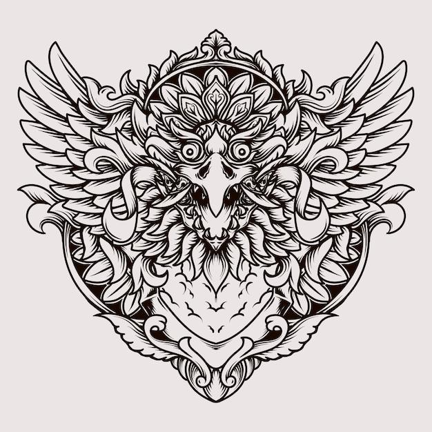 タトゥーとtシャツのデザインバリのバロンガルーダ彫刻飾り Premiumベクター