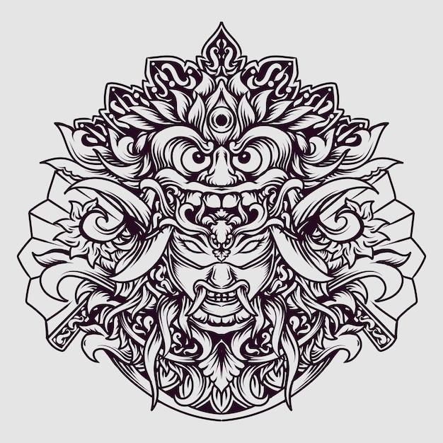 タトゥーとtシャツのデザイン黒と白の手描きバリバロンxオニマスク彫刻飾り Premiumベクター