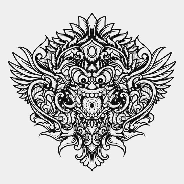 タトゥーとtシャツのデザイン黒と白の手描きイラストバロンクリーチャーモンスターヘッド彫刻飾り Premiumベクター