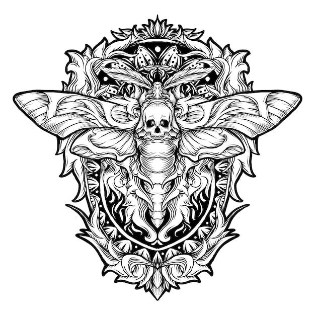 문신과 티셔츠 디자인 흑백 손으로 그린 그림 나방 두개골 조각 장식 프리미엄 벡터