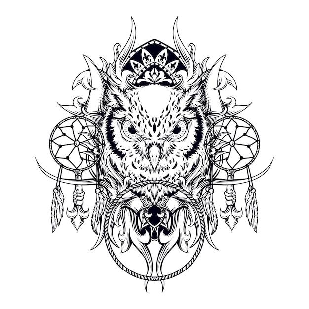 タトゥーとtシャツのデザインの黒と白の手描きイラストフクロウとドリームキャッチャーの彫刻 Premiumベクター