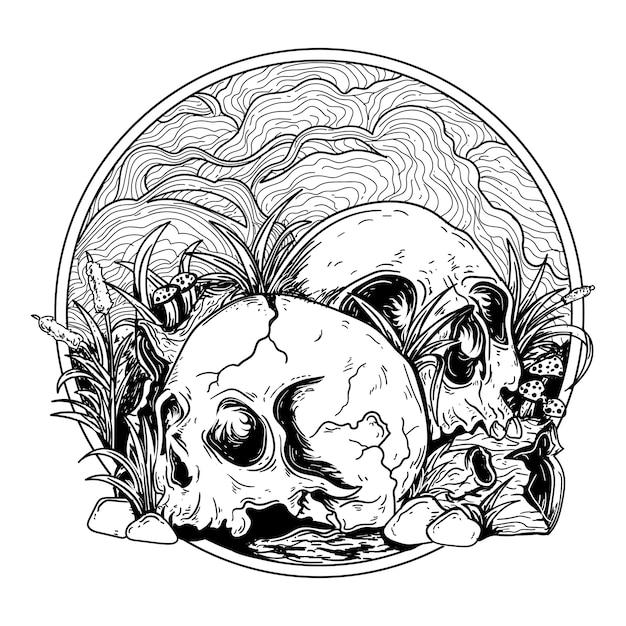 Татуировка и дизайн футболки черно-белые рисованной иллюстрации череп с деревянной травой и камнем Premium векторы