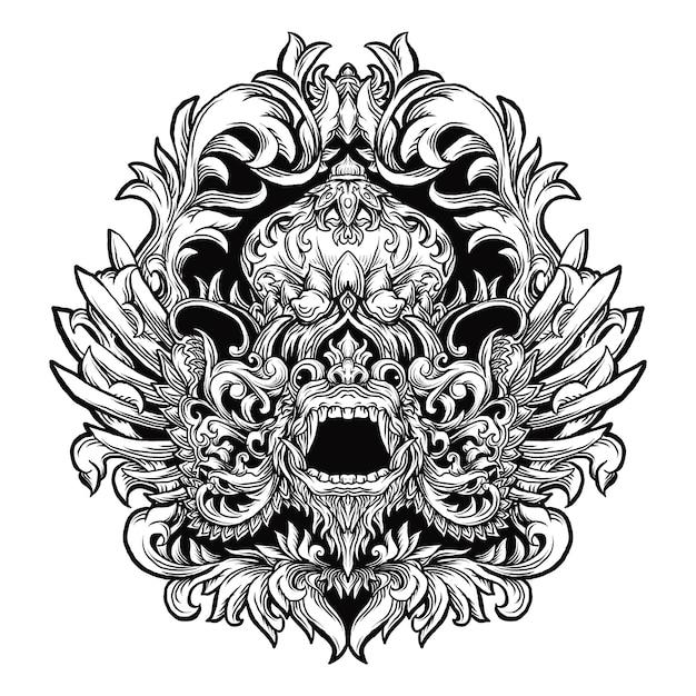 タトゥーとtシャツのデザインの黒と白の手描きイラスト Premiumベクター