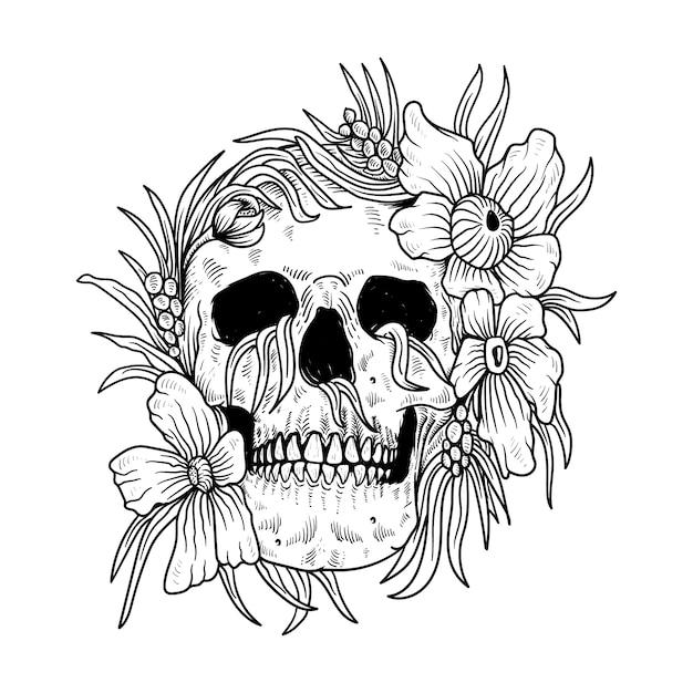 Татуировка и футболка череп и цветок линии искусства Premium векторы