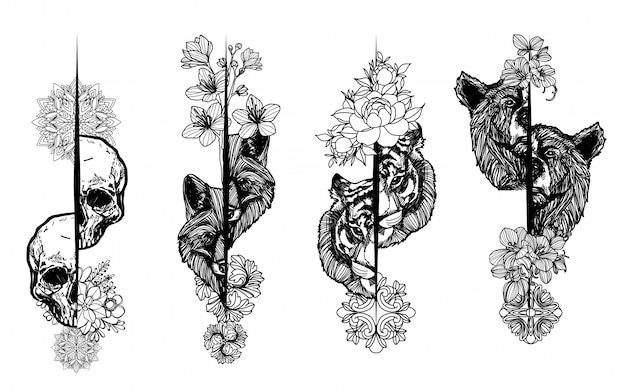 Tattoo art animal hand drawing and sketch black and white Premium Vector