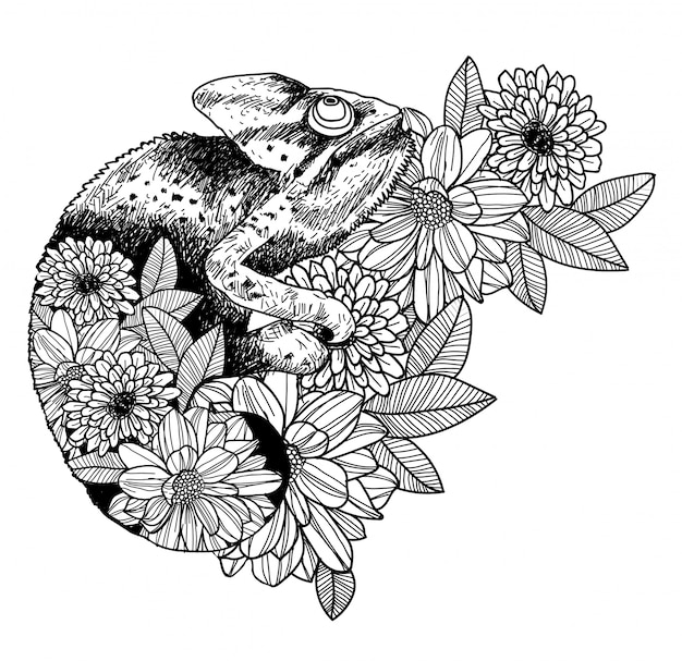 Tattoo Art Black And White: Tattoo Art Chameleon Hand Drawing And Sketch Black And
