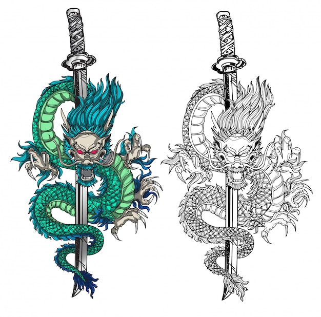 Tattoo art dargon hand drawing black and white  and sketch colors Premium Vector