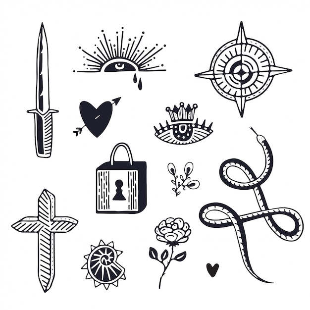 Tattoo art design. minimalistic tattoo Premium Vector