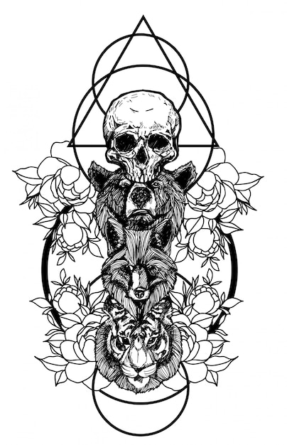 Premium Vector Tattoo Art The Fox Bear And Tiger Hand Drawing And Sketch With Line Art Illustration Isolated Just whipped up this helmeted lady, would love to tattoo her colour or black/grey. https www freepik com profile preagreement getstarted 4841845