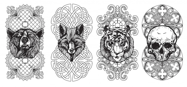 Tattoo art the fox bear and tiger hand drawing and sketch with line art illustration Premium Vector