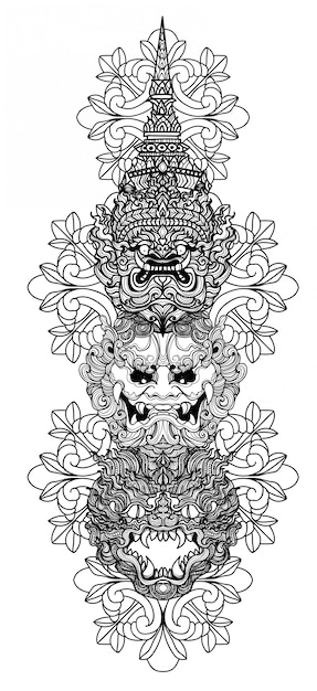 Tattoo art giant hand drawing and sketch black and white Premium Vector