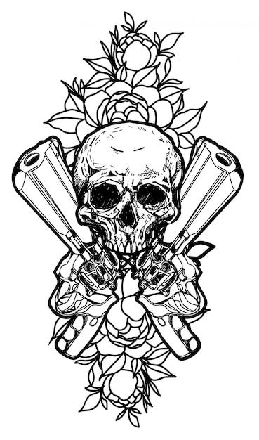 Premium Vector Tattoo Art Guns And Skull Hand Drawing Isolated
