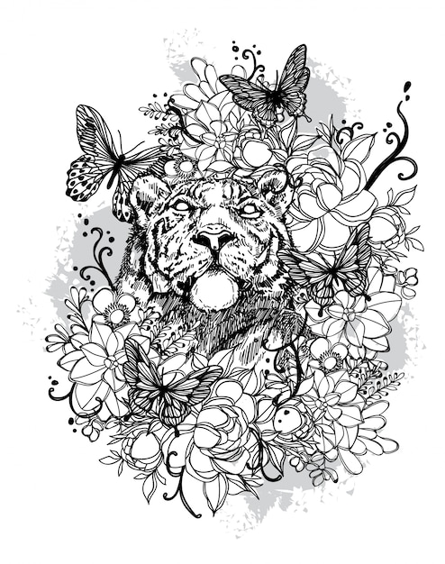 Tattoo art lion hand drawing black and white Premium Vector