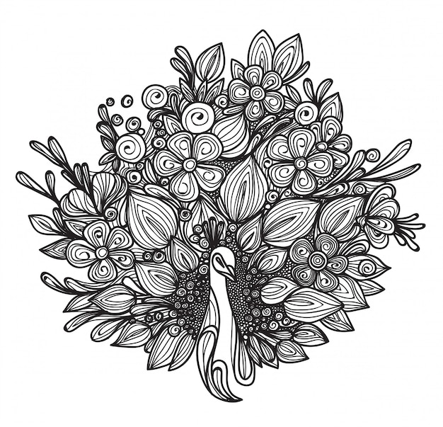 Tattoo art peacock's tail is a flower hand drawing isolated Premium Vector