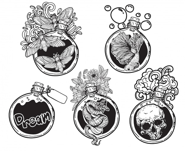 Tattoo art round glass bottle packing things with line art illustration isolated Premium Vector