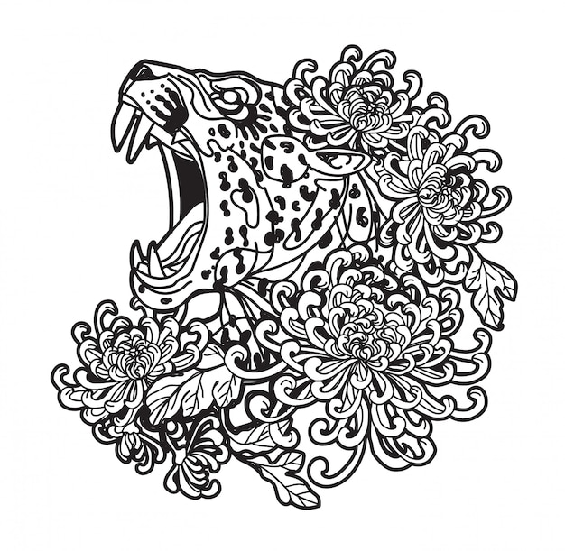Tattoo art tiger hand drawing and sketch black and white with line art illustration isolated Premium Vector