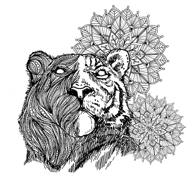 Tattoo art tiger hand drawing and sketch black and white with line art illustration Premium Vector