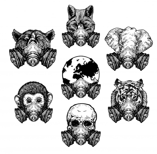 Tattoo art tiger wolf elephant skull wold wearing a protective maskdrawing and sketch black and white Premium Vector